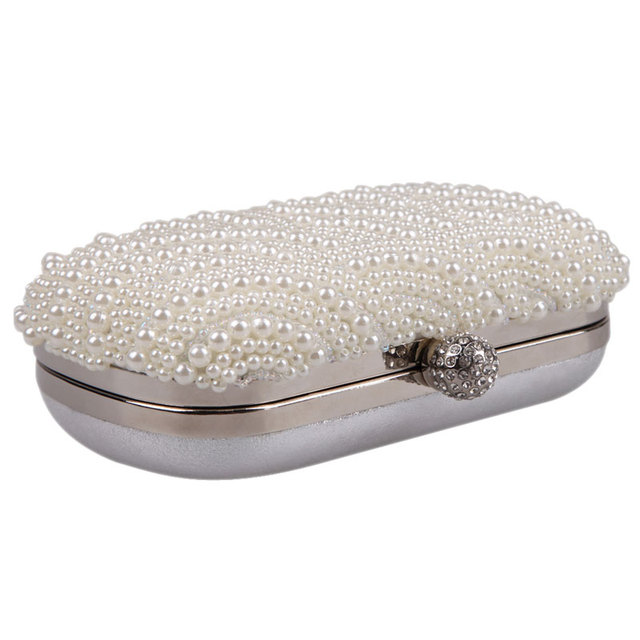 Oval Shaped Pearl Beaded White Clutch Handmade Box Clutch Bag White Handbag 16.00*10.00*4.00cm Purses and Handbags White Purse
