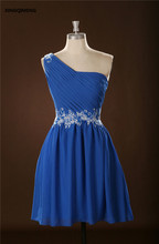 Azul de Un Hombro Vestidos de Cóctel Elegante Vestido de Cóctel Corto Barato Rebordear Lentejuelas Party Girls Vestidos Vestido de Verano de Las Mujeres
