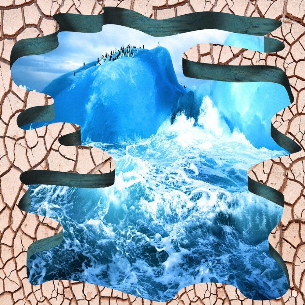 US $17 7 OFF Kustom Lantai Laut Retak Mandi Lantai Sticker Mural Wallpaper 3d Stereoscopic 3d Pvc Diri Perekat Wallpaper Mural 3d Wallpaper Murals