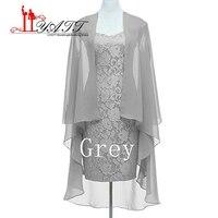 Лидер продаж плюс Размеры серебро Кружево Мамам молодожёнов с курткой по колено невесты платья для мам для свадеб