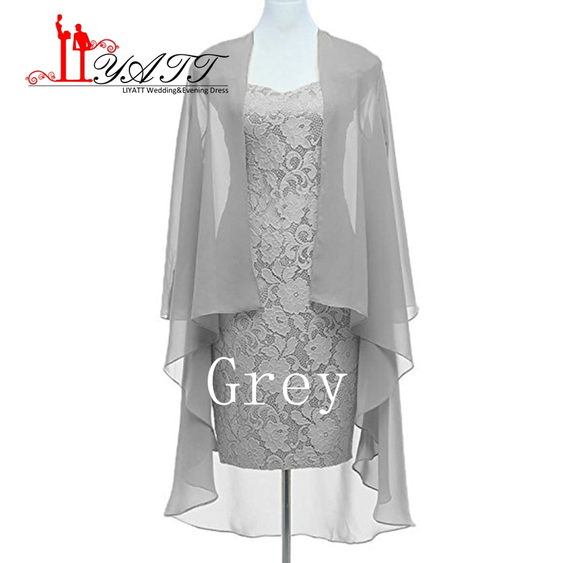 Hot Selling Plus Size Silver Lace Mother of the Bride Dresses with Jacket Knee Length Br ...
