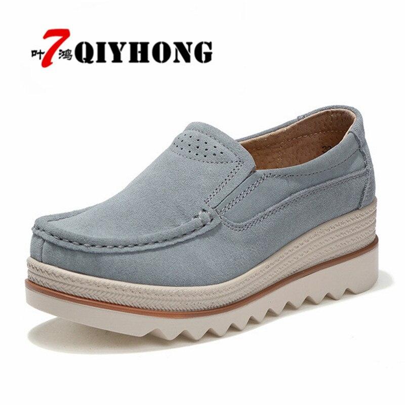 Sneakers Automne Beige Cuir noir Glissement 2018 En Femmes Daim forme Plate bleu gris Sur Qiyhong Appartements Casual Mocassins Chaussures Creepers Talons 501xTTn