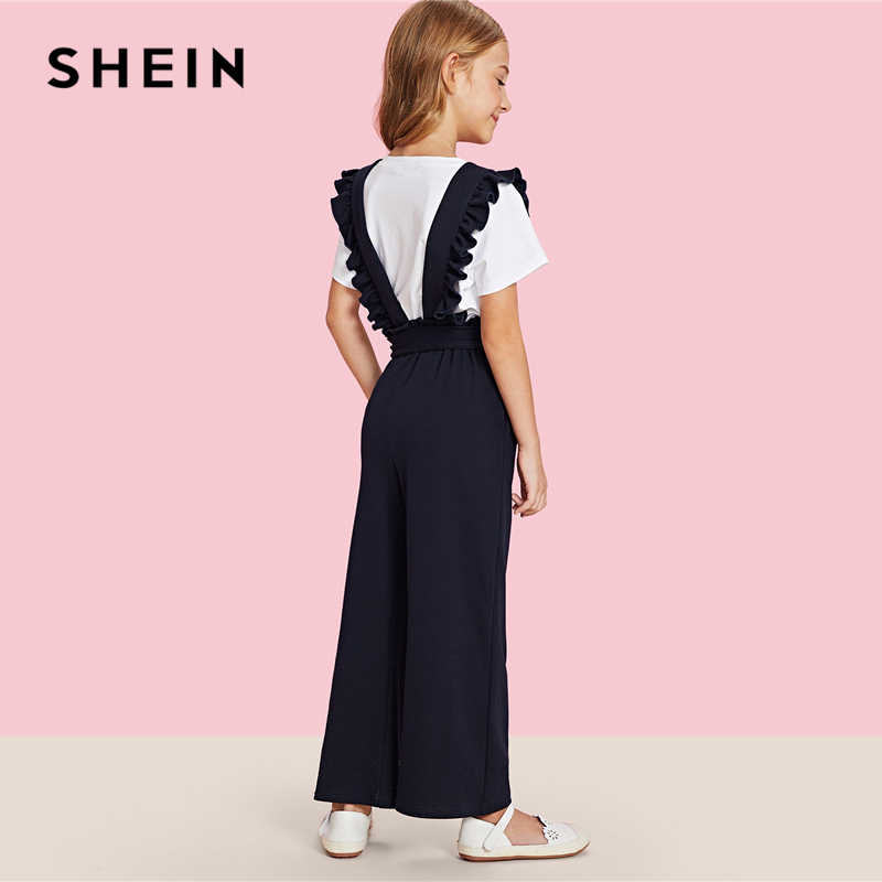 27af37e5ca ... SHEIN Girls Navy Solid Ruffle Strap And Waist Casual Overalls Kids  Jumpsuits 2019 Spring Fashion Sleeveless ...