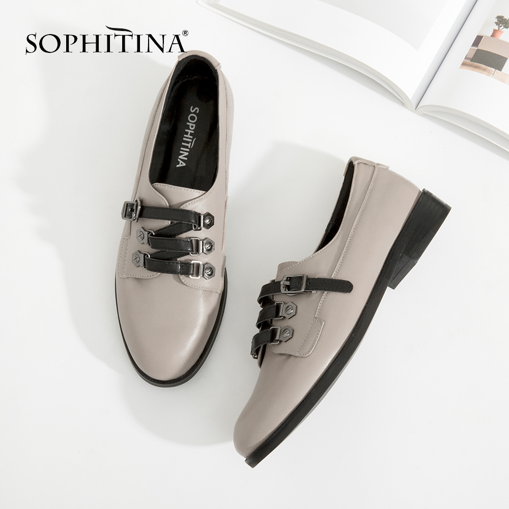 SOPHITINA New Flats Fashion Round Toe Black Gray Genuine Leather Shoes Woman Buckle High Quality Handmade