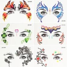 Krasivyy Yüz geçici dövme çıkartma takı Arap Hindistan'ın büyük dövmeler gözler Masquerade flaş dövme macunu makyaj kız dövme
