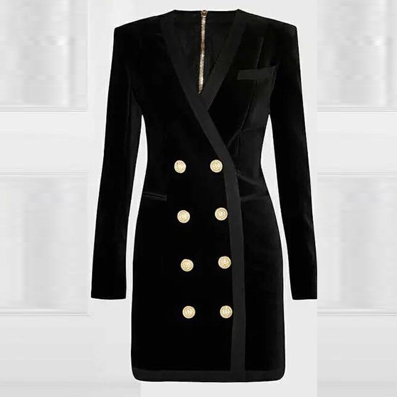 Отличное качество, стильный одежда осень-зима для Для женщин v-образный вырез Lion кнопки двубортный Вельветовое платье