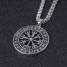 TV Show Viking Rune Necklace Norse Runes Pendant Black compass hip-hop personality Jewelry Man Fashion Gift