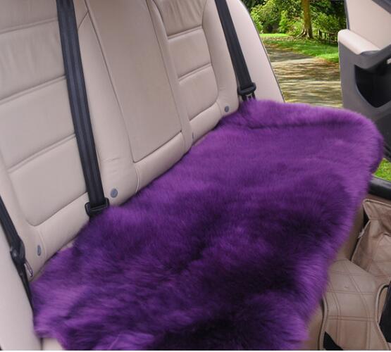 3pcs Sheepskin Long Wool Car Seat Pads Breathable Warm Soft Cover Chair Cushions