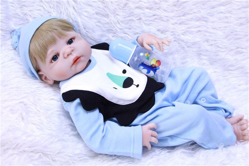 Poupée Reborn bébé 55 cm Silicone Boneca bleu lion vêtements accessoires poupées enfants cadeau préféré jouets pour filles yeux bruns poupée