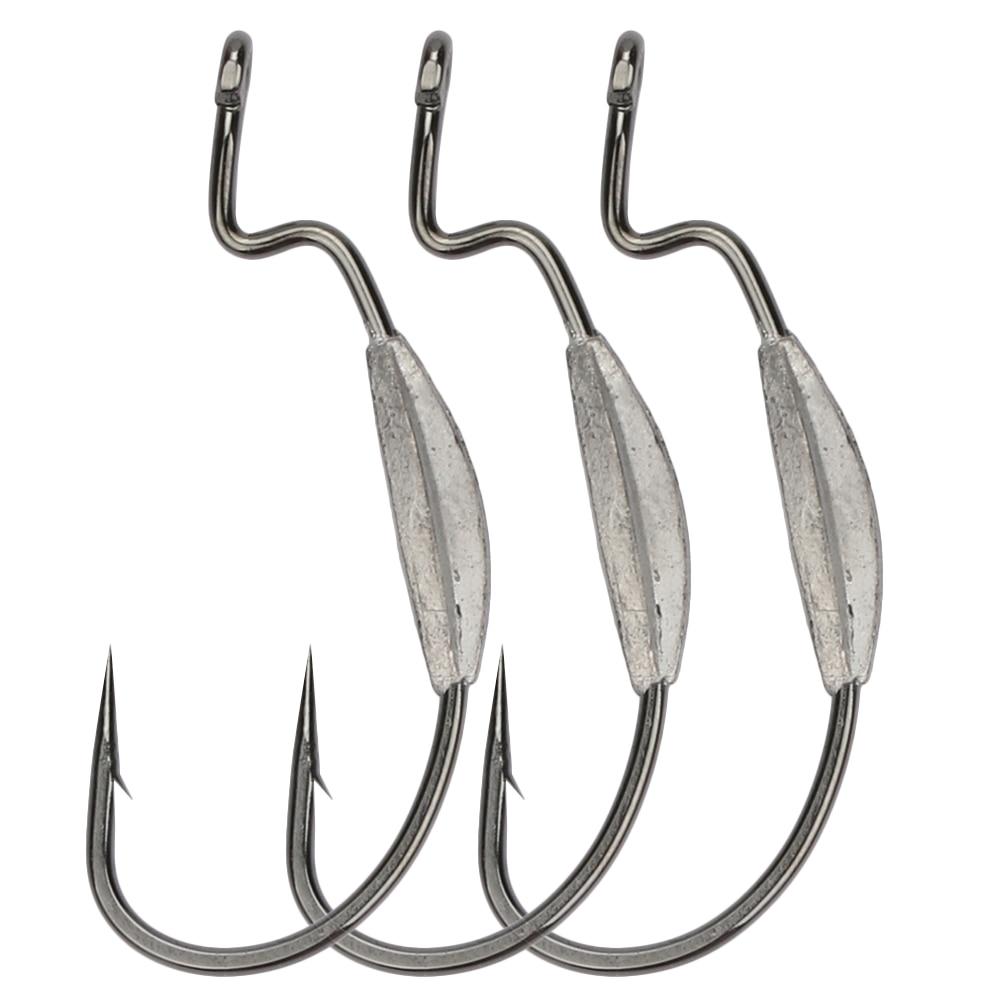 Trulinoya 20pcs fishing hook bkk barbed lead offset hooks for Barbed fishing hook