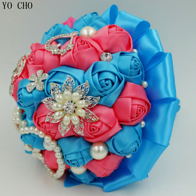 Customized Turquoise Blue C Pink Artificial Wedding Bouquets Bead Crystal Pearl Jewelry Royal Flower