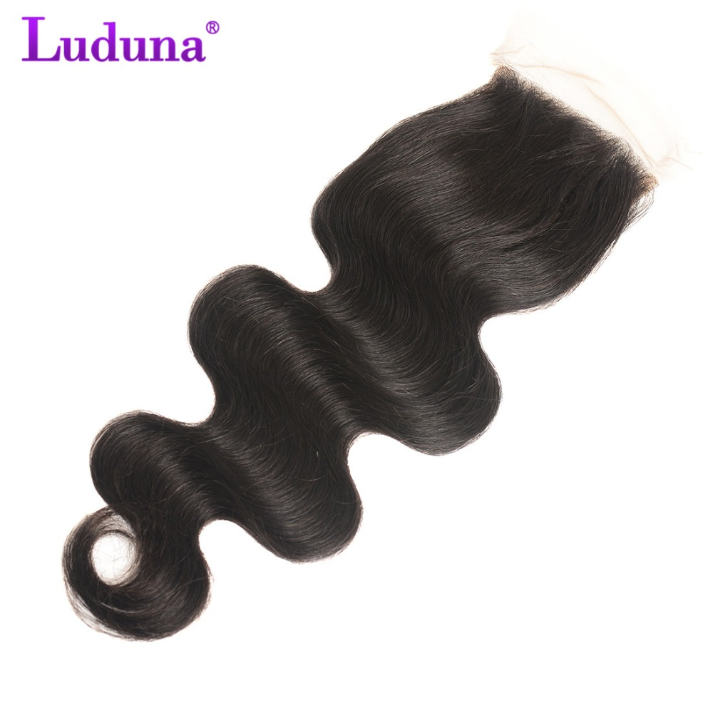 Luduna Malaysian Body Wave Hair Bundles With Closure 4pcs/lot Human Hair 3 Bundles With Lace Closure Free Part Non Remy Hair