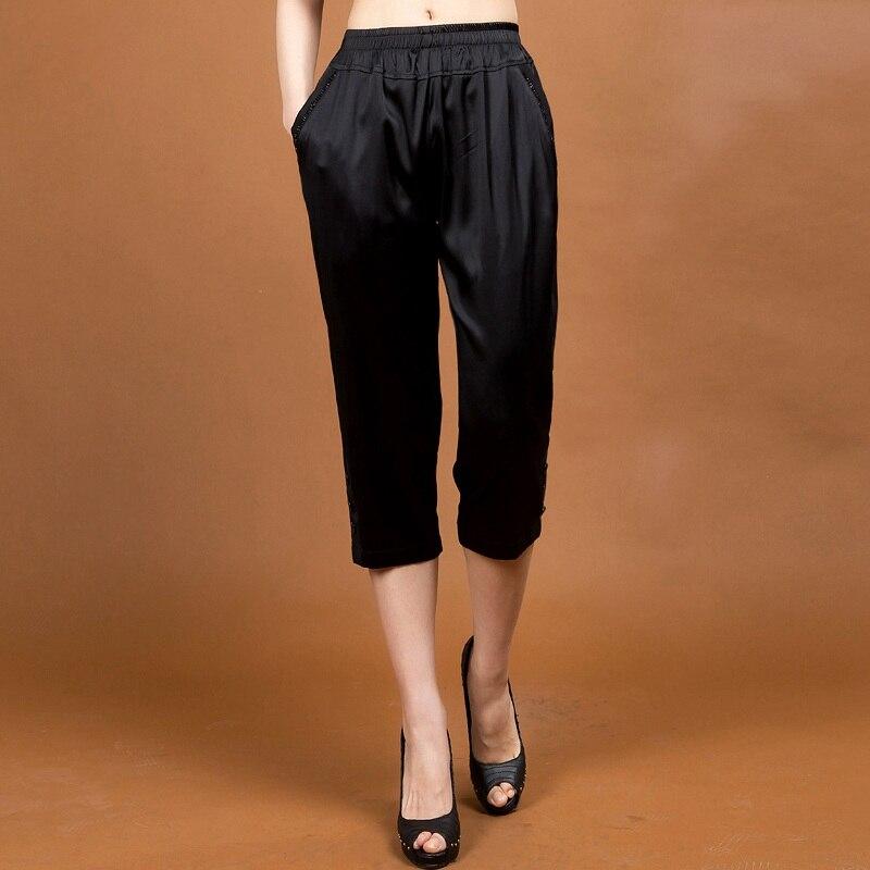 High Quality Black Chinese Women's 100% Silk Harem Pants Calf Length Elastic Waist Trousers Plus Size M L XL XXL XXXL 4XL 1102 женское платье wm 2015 m l xl xxl xxxl 4xl 5xl 6xl r wyd005