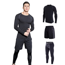 купить Men's Sports Suits Jogging Homme Compression Training Set Gym Workout Clothes Quick dry Sportswear Long Sleeve Running Suit 2019 онлайн