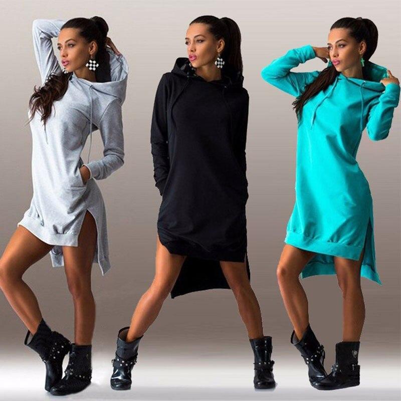 HTB1HWAUEbuWBuNjSszgq6z8jVXap Women Slim Hoodie Dress 2019 Autumn Winter Long Sleeve Casual Dress Hooded Pockets Sportwear Female Fashion Women Clothing