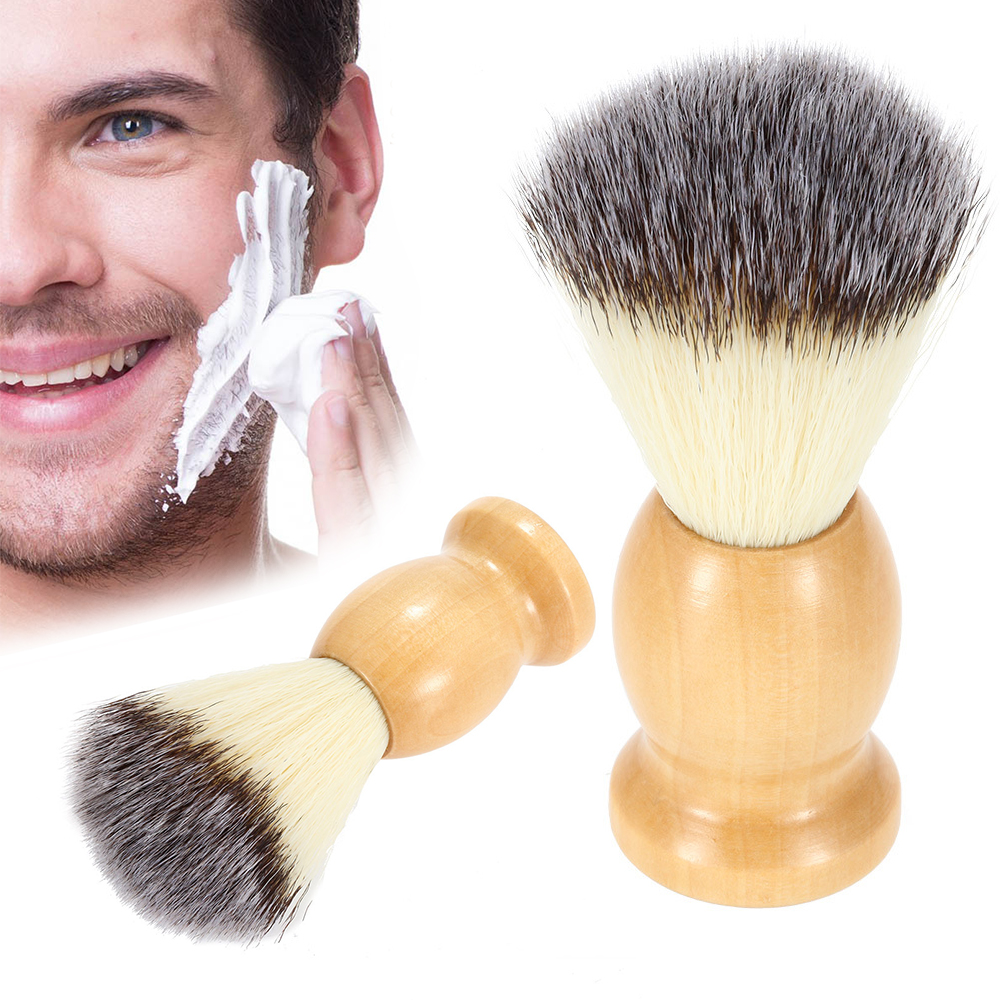 1 Pc Men's Shaving Brush With Wooden Handle Pure Big Nylon Hair Soft Face Cleaning Makeup Facial Razor Brush Shave Tools