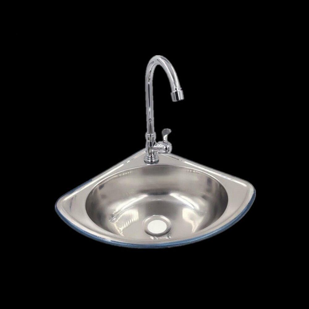 Stainless steel triangle basin thickening small sink ultra small angle single basin basin sink bathroom sink sink LU4281