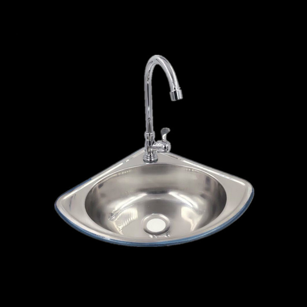 Stainless Steel Triangle Basin Thickening Small Sink Ultra Small Angle Single Basin Basin Sink Bathroom Sink Sink LU4281