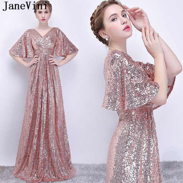JaneVini Rose Gold Sequined Bridesmaid Dresses Long Short Sleeve Floor-Length Women's Formal Party Gowns Vestido Boda Invitada