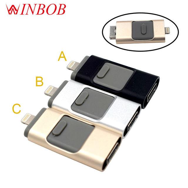 i-Flash pen Driver HD U-disk Lightning data for iPhone/iPad/iPod micro usb interface flash drive for PC/MAC32/64/128/256/512GB