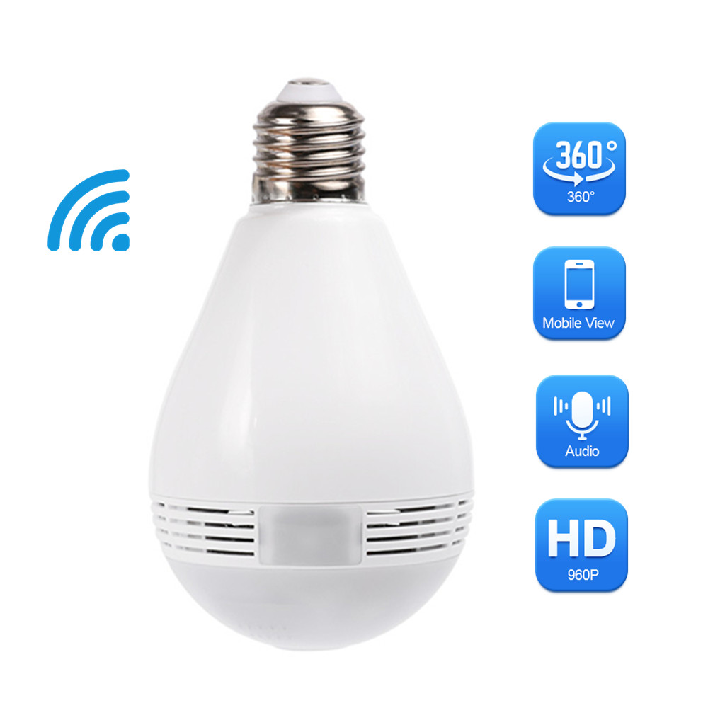 2018 New Arrival 960P Bulb Light Wireless WIFI Camera IP Camera 360 Degree Panoramic Fisheye Smart Home Security bc 883m mirror bulb lamp camera hd 960p wifi ap hd 960p ip network camera with real light remote control 2017 new arrival