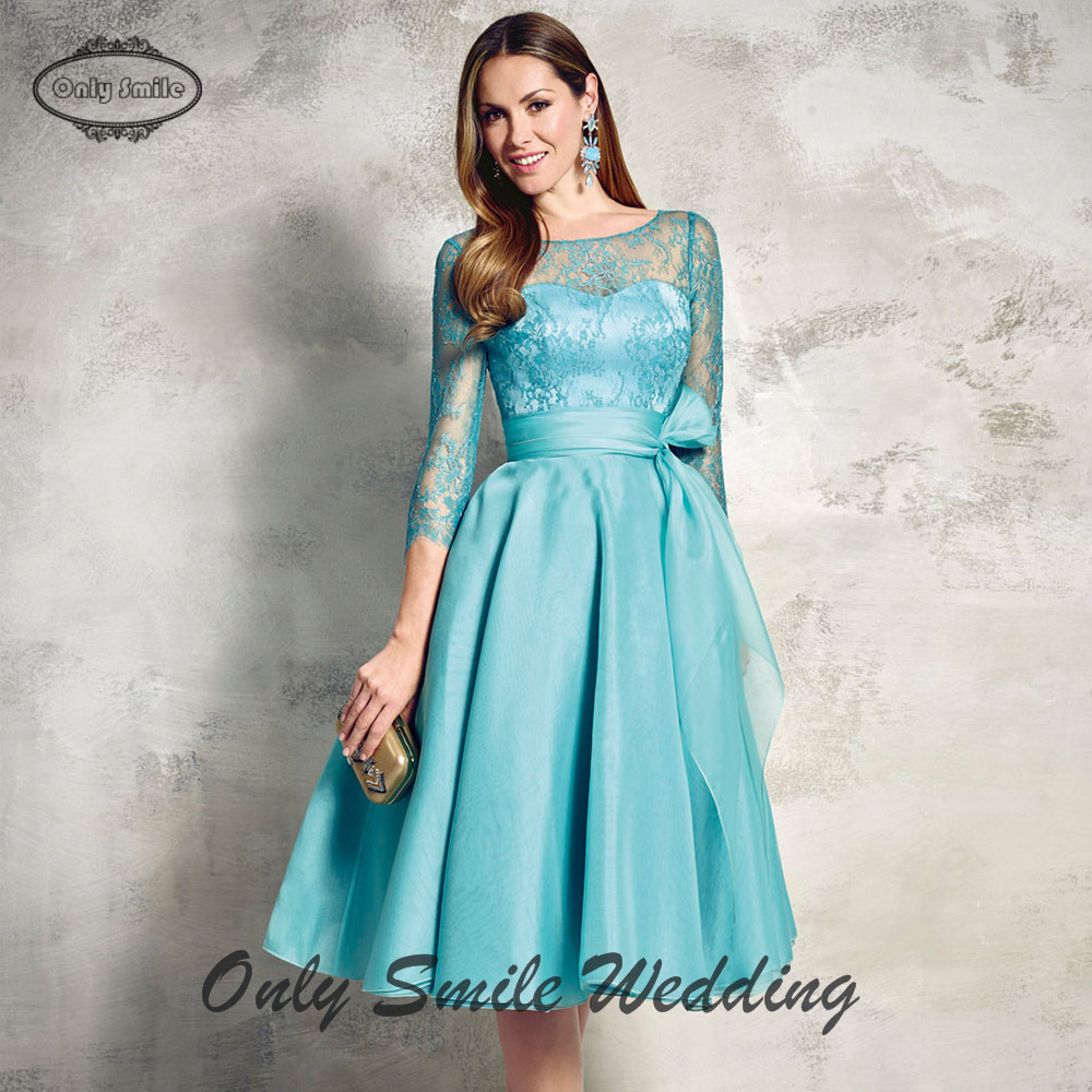 ZJ3313 Elgant illusion organza knee length puffy blue formal dress ...