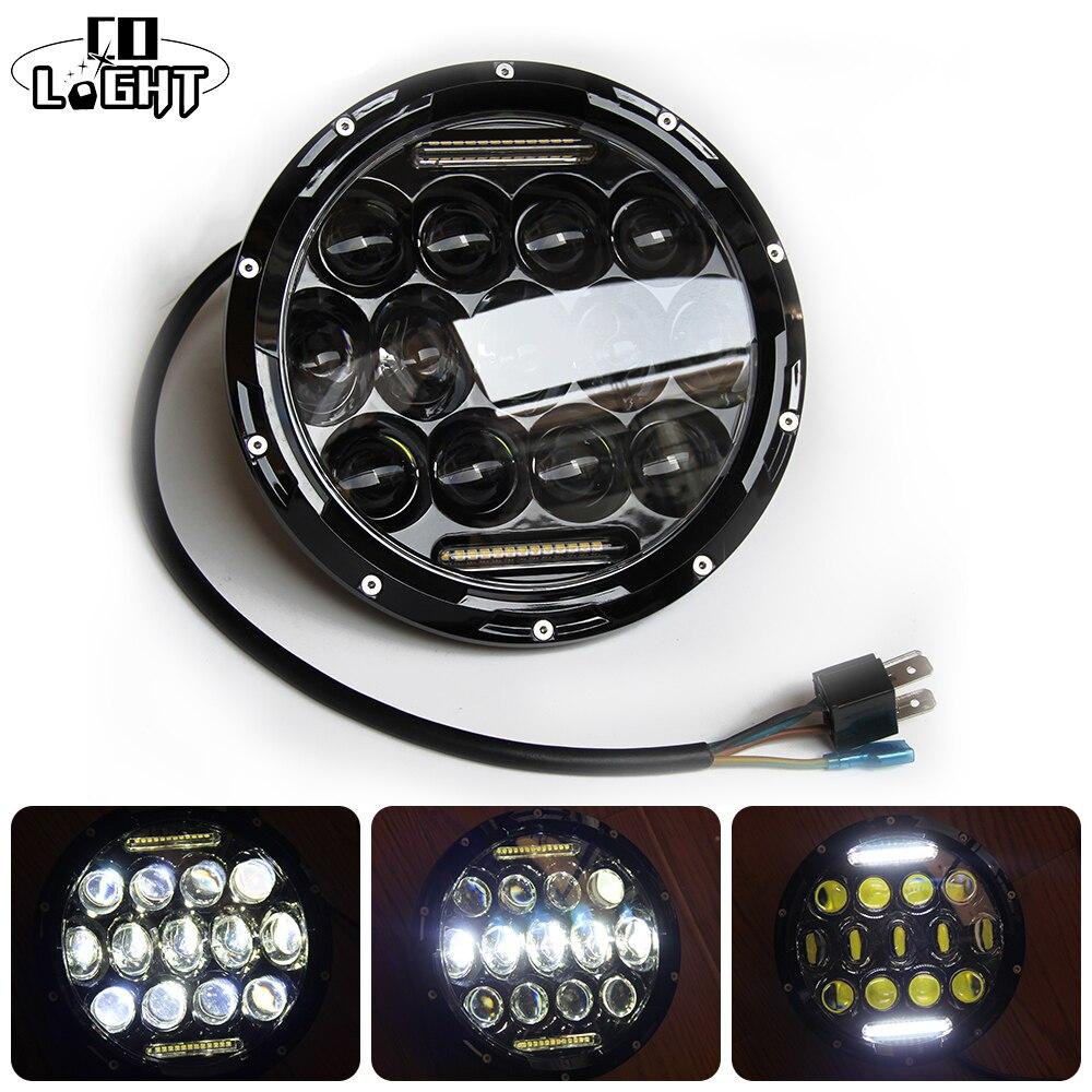 Со светом 7 дюймов Led Drl для Лада Нива 75 Вт 35 Вт Габаритные огни для Land Rover Defender УАЗ Jeep wrangler Harley противотуманных фар