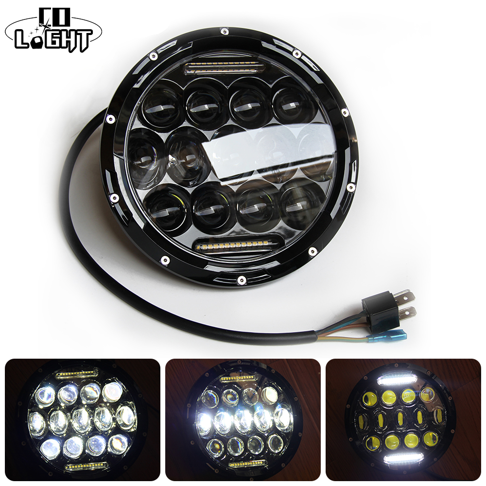 CO LIGHT 7 Inch Led Drl for Lada Niva 75W 35W Daytime Running Lights for Land Rover Defender Uaz Jeep Wrangler Fog Light Led