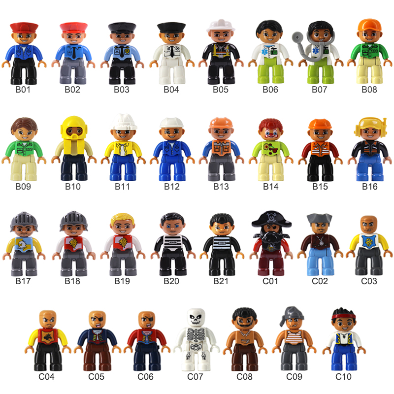 Big Size Building Blocks Character Family Worker Police Figures Compatible With Duplo Bricks Education Toys For Children.