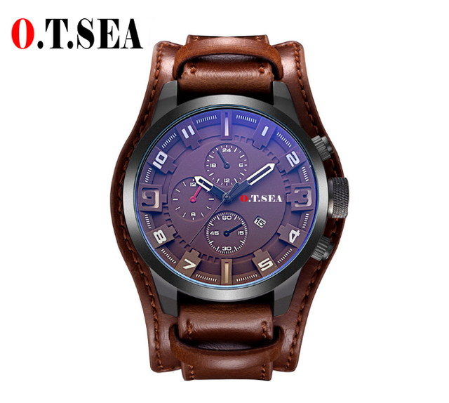 2018 Hot Sales O.T.SEA Brand Leather Watch Men Military Sports Quartz Wristwatch