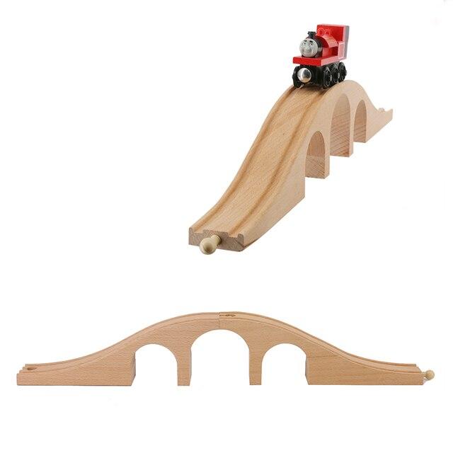Wooden Train Track Toys  Wood Rail Bridge Educational DIY Blocks Accessories Toys For Children Babys
