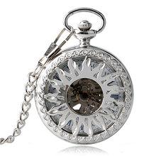 새로운 도착 패션 태양 조각 Graved 기계식 자기 바람 주머니 시계 남성 여성 선물 포켓 시계 남성 목걸이