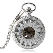 New Arrival Fashion Sun Carving Graved Mechanical Self wind Pocket Watch Men Women Gift for Pocket Watch Masculine Necklace