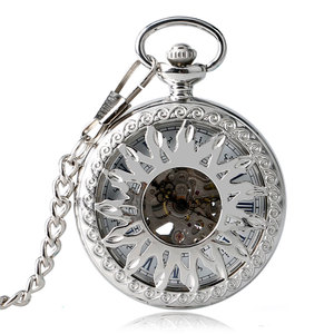 Image 1 - New Arrival Fashion Sun Carving Graved Mechanical Self wind Pocket Watch Men Women Gift for Pocket Watch Masculine Necklace