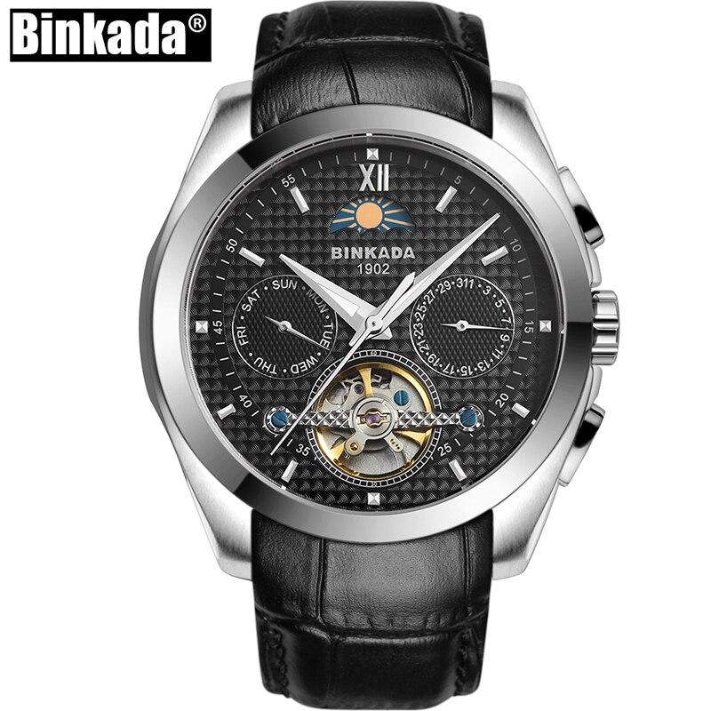 남자 고품질 해골 기계식 시계 원래 새로운 패션 럭셔리 브랜드 binkada 남자 문 단계 자동 시계-에서기계식 시계부터 시계 의  그룹 2