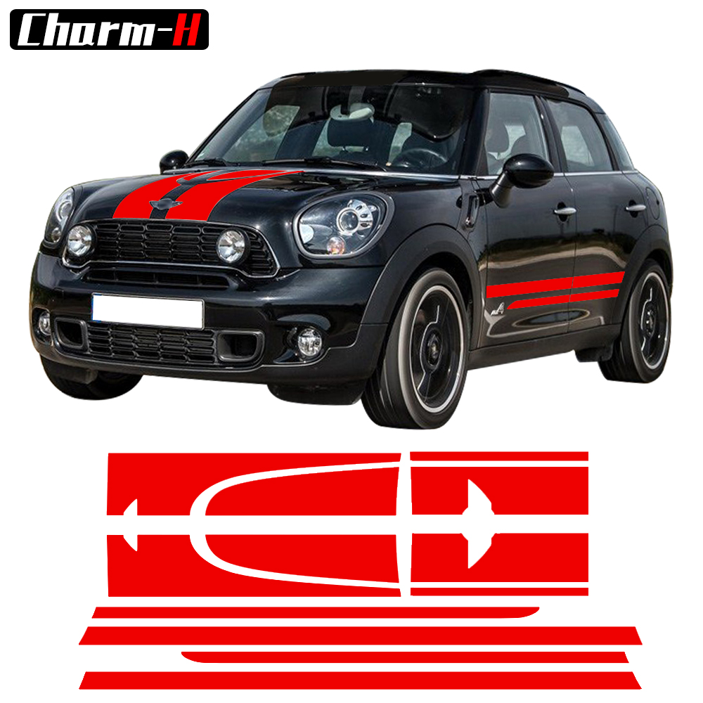 Sticker Kit Stripe Autocollant Pour MINI Cooper S John Cooper Works JCW Côté Racing Jupe Stripes Capot Arrière Decal