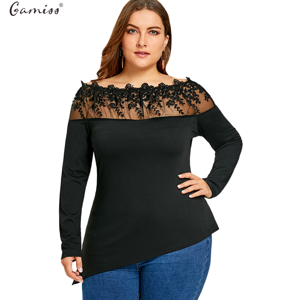 c0e57c2b937f0 Detail Feedback Questions about Gamiss Women Embroidered Asymmetric Long  Sleeve Floral T Shirt Plus Size Boat Neck See Though Women Tops Tees Big  Size ...