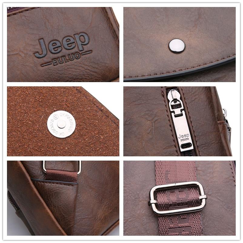 Image 5 - JEEP BULUO Famous Brand Mens Sling Bag For 9.7 iPad Shoulder Men  Leather Chest Pack Crossbody Bag for Man Big Zize High Qualitymen  sling bagshoulder bag mensingle shoulder bag