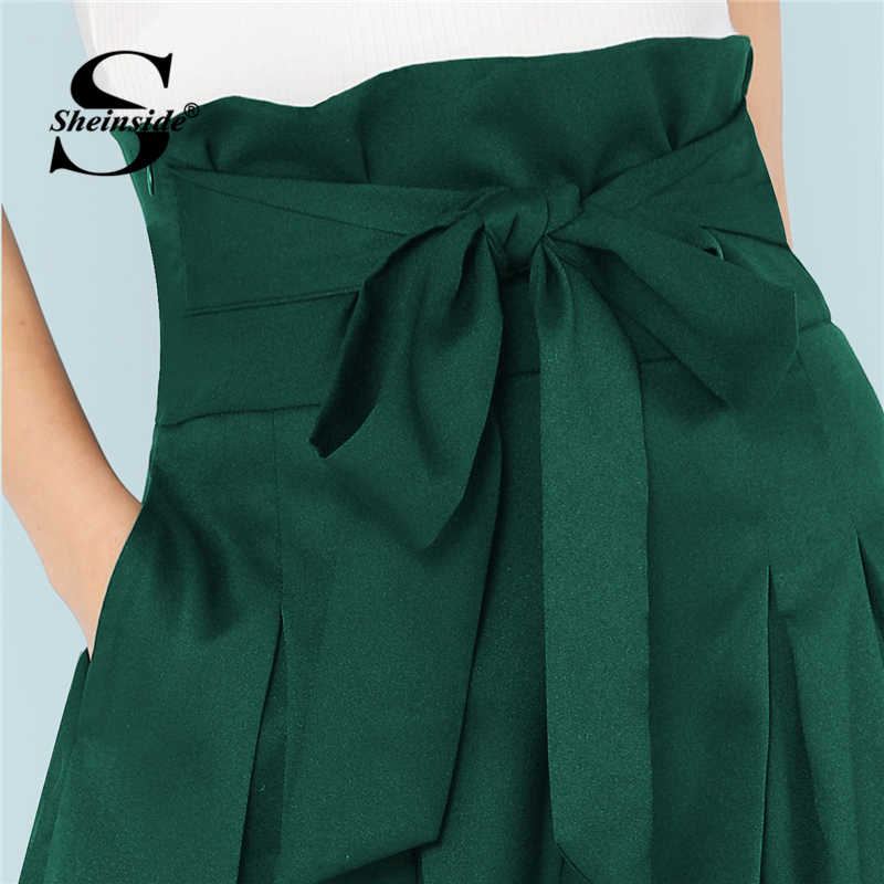 Sheinside 黒自己ベルト付きボックスプリーツ宮殿長ズボン女性ルースエレガントな Ol ワーク女性ハイウエストワイドレッグパンツパンツ