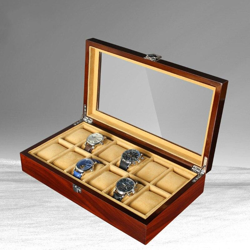Nouveau 12 grille en bois montre boîte mallette de rangement organisateur bijoux affichage cadeau de haute qualité rétro luxe montre-bracelet boîtier en bois montre boîte