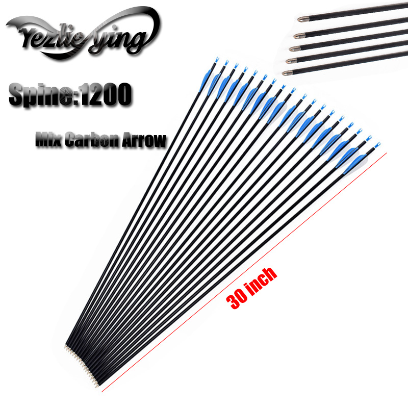 6/12PCS 30Inch 6mm Carbon Arrow Bow and Arrows for Recurve Bows 1200 Spine Hunting Feather
