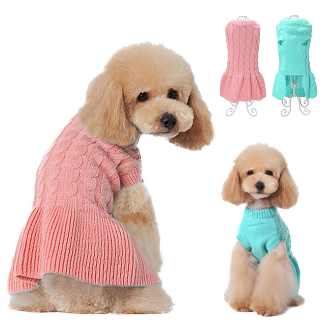 bada9c86c958 Warm Dog Clothes Winter Pet Sweater Knitwear Dress Pets Clothes Puppy  Clothing Coat Apparel for Small