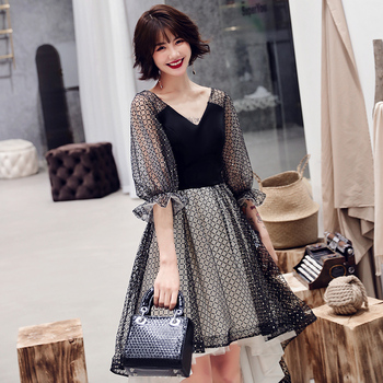 Lantern Sleeve Black Patchwork Women Qipao Prom Party Dress Sexy Novelty Elegant Robe De Soiree Asymmetrical Perspective Vestido