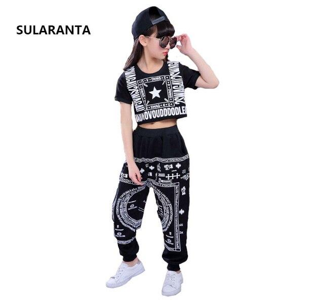 Niñas Niños Salón Modern Jazz hip hop danza traje camiseta Pantalones para  niño Ropa de baile 4f6e48007b8