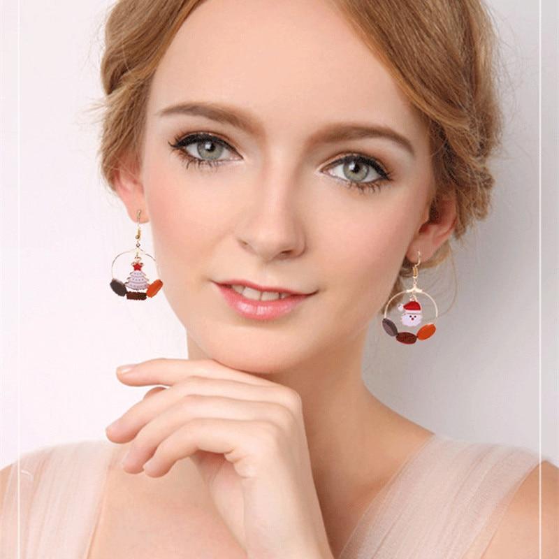 New Winter Christmas Earrings Asymmetrical Long Earring For Women Christmas Gift Party Wedding Stud Earrings Statement Wholesale