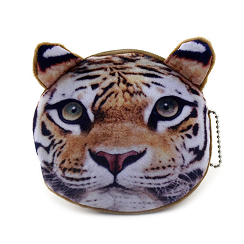 XYDYY Cute Tiger Lion Animal Prints Women Coin Purse Portable Mini Plush Coin Purse Pouch Zipper ID Holder Wallet Handbag Bag
