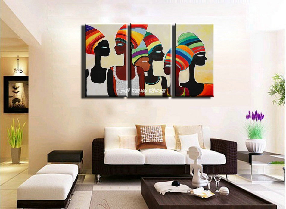 3 Piece Acrylic Modern Abstract Canvas Art Handmade Wall Decor Painting African Oil Pictures For