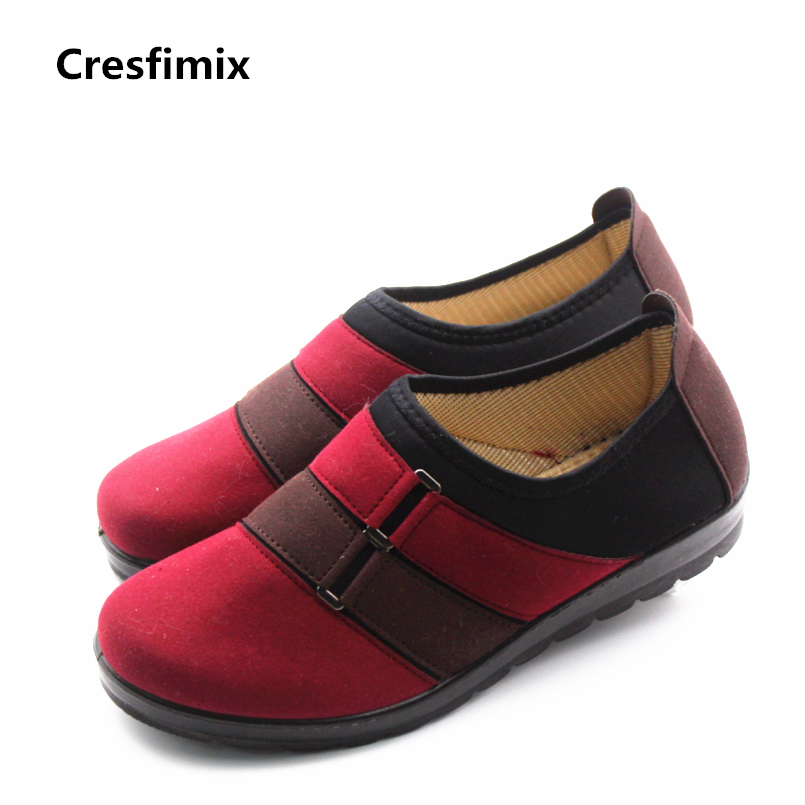 Cresfimix zapatos de mujer women casual spring & summer cloth flat shoes lady plus size slip on flats female comfortable shoes cresfimix zapatos de mujer women fashion pu leather slip on flat shoes female soft and comfortable black loafers lady shoes