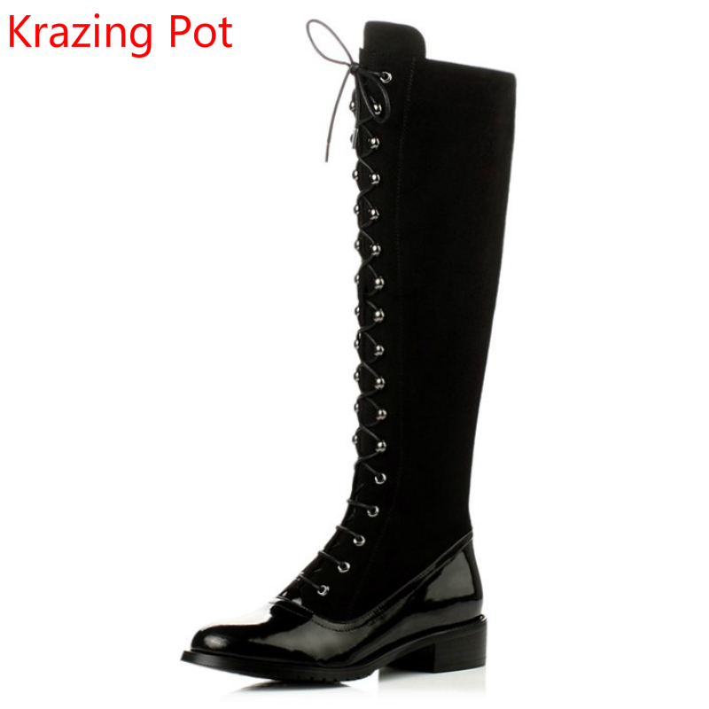 2018 Genuine Leather Rivet High Quality Lace Up Fashion Round Toe Keep Warm Thigh High Winter Boots Over-the Knee Boots L5f1