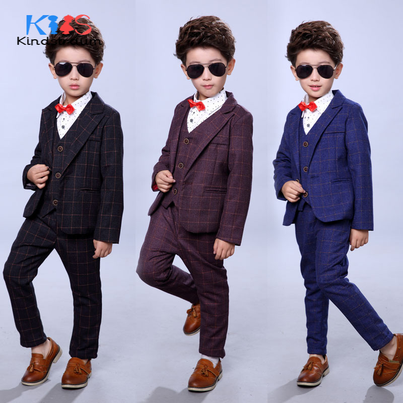 Kindstraum Boys Wedding Fashion Formal Suits 3pcs Kids Plaid Blazer+Vest+Pant Gentleman Style Children Formal Clothing Set,MC918 baby boy clothes suits vest plaid shirt pants 3pcs set party formal gentleman wedding long sleeve kid clothing set free shipping